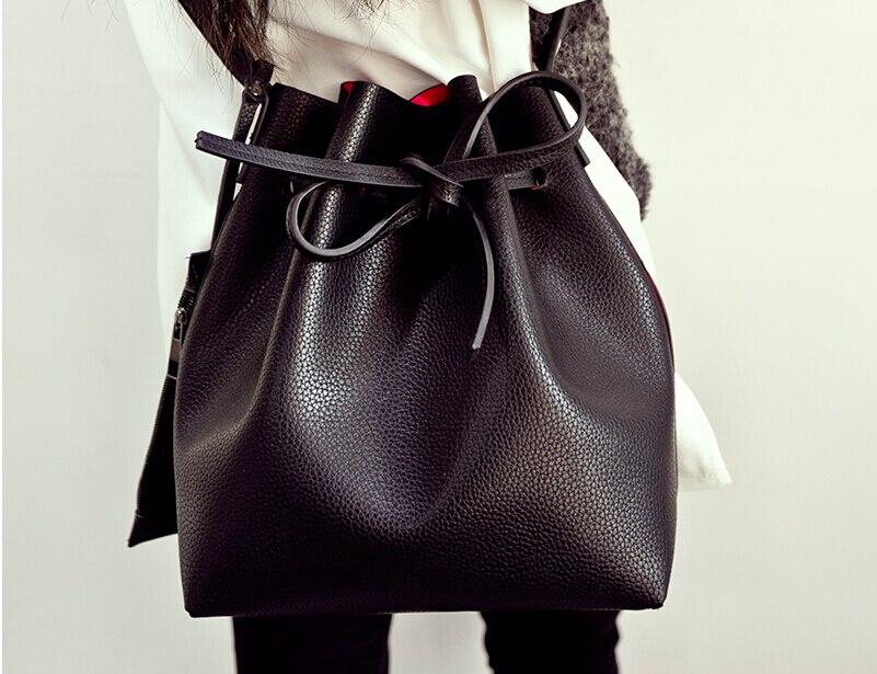Mode de bonbons de couleur tout-allumette femelle seau sac pu en cuir une épaule croix-corps de femmes sacs à main femme sac