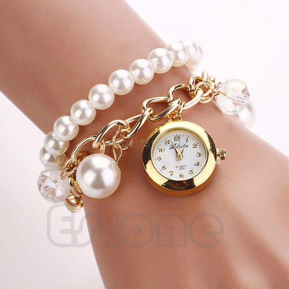Women Faux Pearl Rhinestone Chain Bracelet Round Dial Analog Wrist Watch FashionWomen Faux Pearl Rhinestone Chain Bracelet Round Dial Analog Wrist Watch Fashion