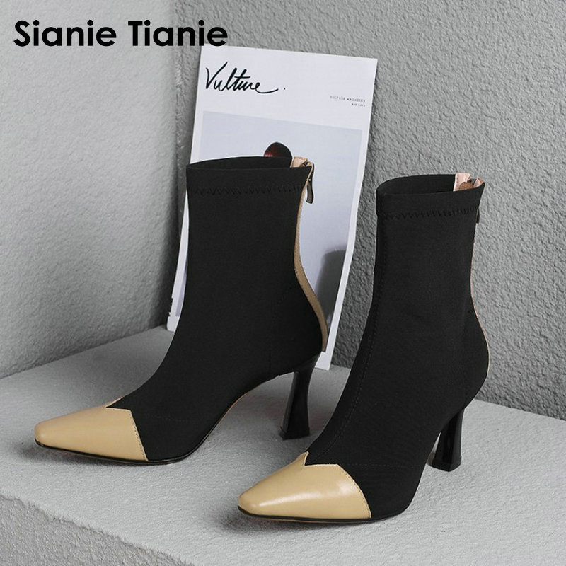 Sianie Tianie 2018 Genuine Leather Stretch Boots Woman Sexy Stiletto Sock Booties Patchwork High Heeled Women Boots Fashion ShoeSianie Tianie 2018 Genuine Leather Stretch Boots Woman Sexy Stiletto Sock Booties Patchwork High Heeled Women Boots Fashion Shoe