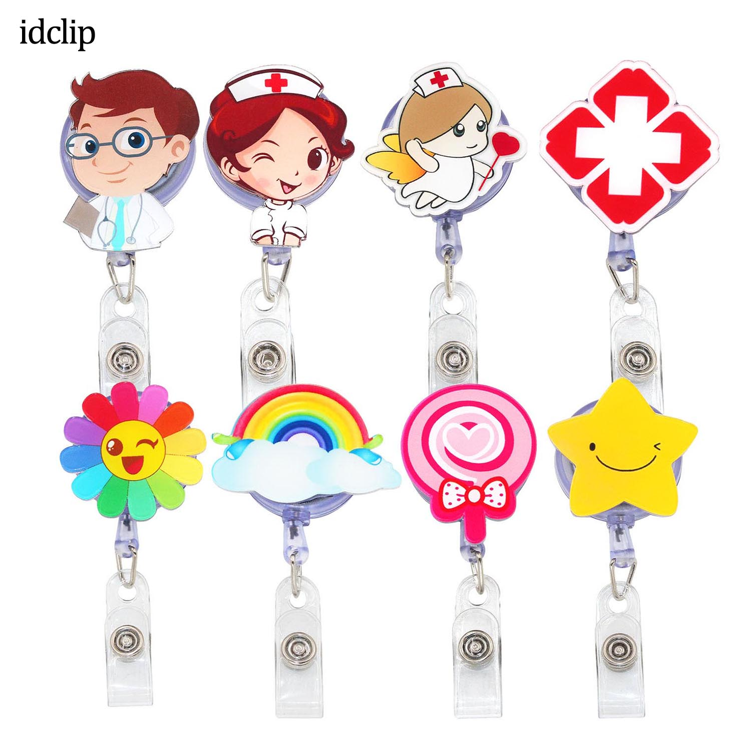 Idclip 8 Pack Doctor Men Nurse Women Badge Reel Holder Angel And Red Cross Retractable Cord Badge Reel