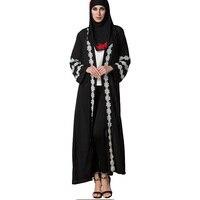 Fashion Women Abaya Robe Gown Dress Women Crochet White Lace Flower Trim Black Chiffon Cardigan Muslim Dress Plus Size Feminino