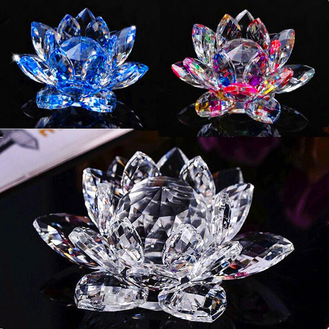 Aliexpresscom Buy 80mm Quartz Crystal Lotus Flower Crafts Glass