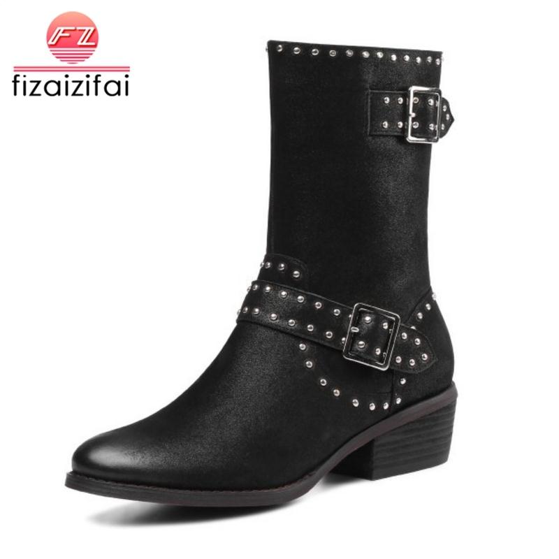 fizaizifai Size 33-43 Genuine Leather Women Boots Buckle Rivets Winter Shoes Women Round Toe Warm Fur Fashion Mid Calf Boots цена 2017