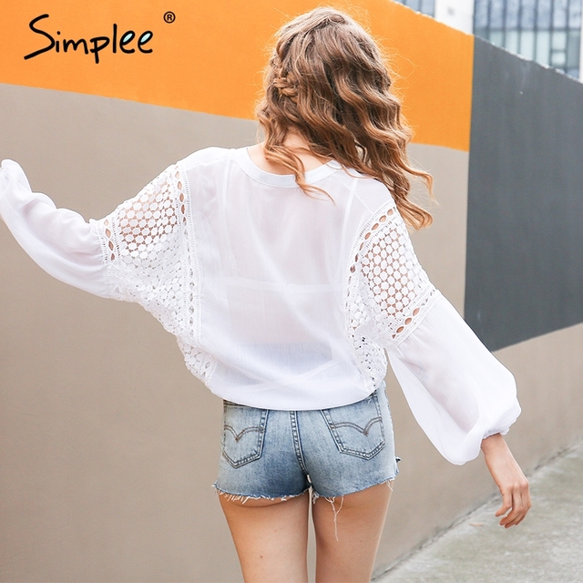Simplee Sexy chiffon lace blouse shirt Perspective v neck lantern sleeve white blouse Summer hollow out women blusas tops