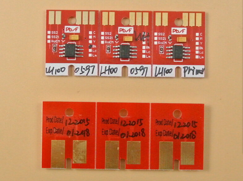 mimaki LH-100 chips for Mimaki UJF3042 permanent chips LH100 spc 0597 BK C M Y WH PR auto reset chips