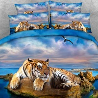 Goldeny 4 Parts Per Set Magnificent Tiger relaxing on rocky beach HD Digital 3d animal bed set