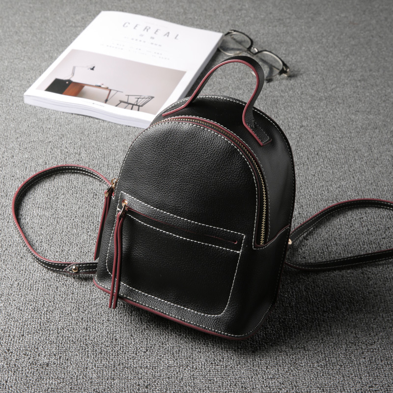 DUDINI Summer New Split Leather Shoulder Bag Female Cow Leather Small Backpack Mini Small Fresh Shoulder