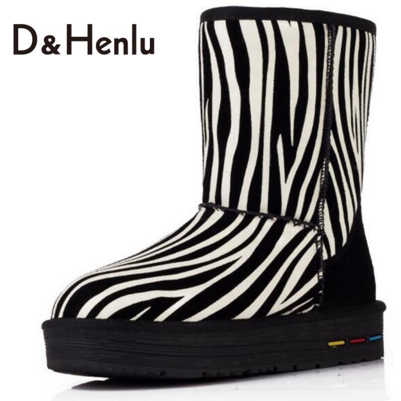 ФОТО {D&H} Winter Zebra Stripes PU Leather Snow Boots Women Australian Brand Designer Mid-Calf Boots Plush Boots Shoes Woman