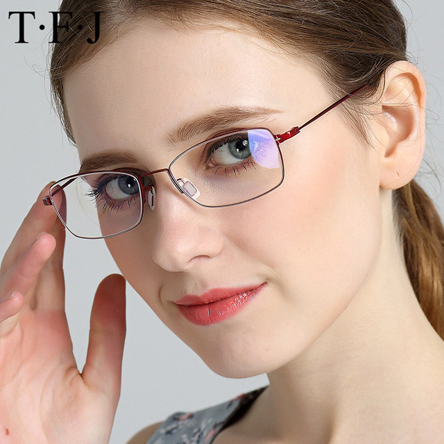 10b1bb2b3c TFJ Pure Titanium Women s Flexible Fine Eyeglass Frames Full Rim Women  Eyewear Prescription Glasses Myopia   Reading