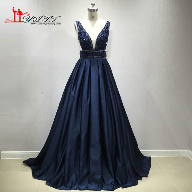 Online Shop LIYATT Real Photo Navy Blue Satin Long Prom Dresses 2018 V Neck  Tank Heavily Beaded Crystals Sleeveless Sparkle Evening Gown  6d264b98ea64