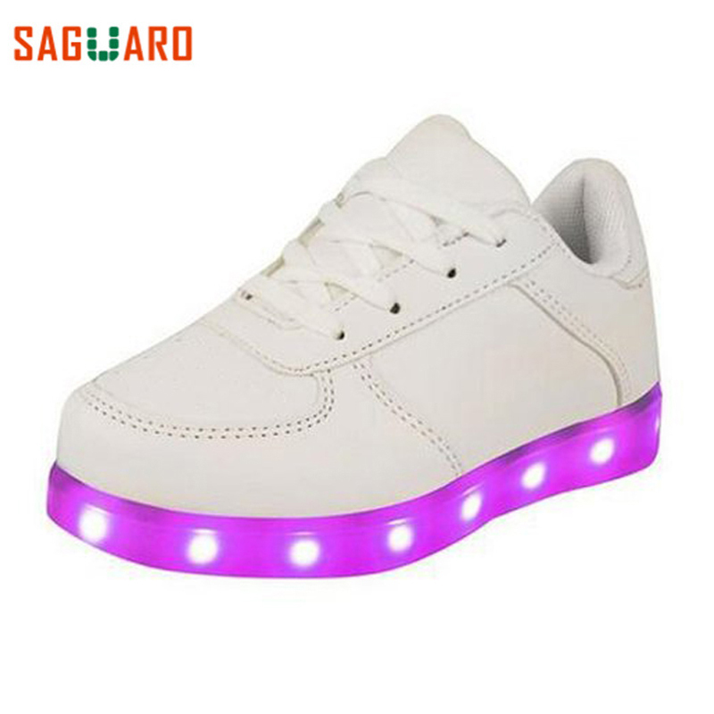 SAGUARO LED Luminous Shoes Fashion 7 Colors Boys Girls Light Up Shoes Kids Casual USB Charge Glowing Sneakers Zapatos Zapatillas plus size 35 40 led shoes women glowing 7 colors led shoes for adults fashion luminous led light shoes woman sapato feminino