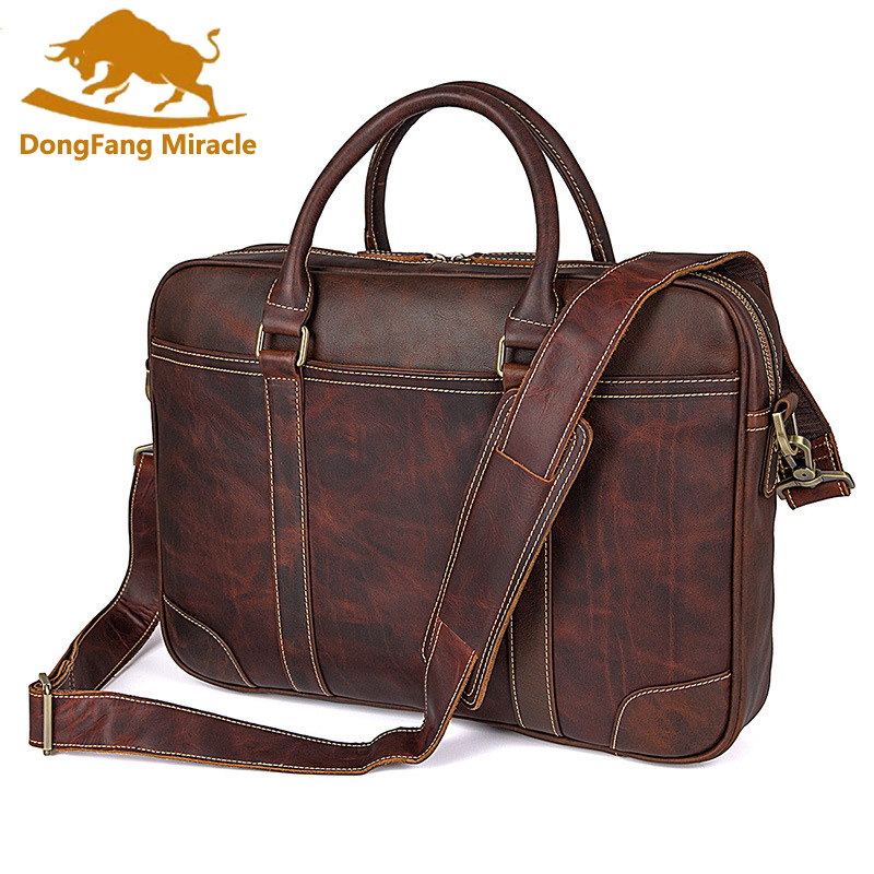 DongFang Miracle High Quality Genuine Cow Leather Men's Briefcase Handbag 15Laptop Bag Messenger Business Bags Shoulder Bag dongfang miracle high quality genuine leather men messenger bags casual shoulder bag male multifuntional small bag
