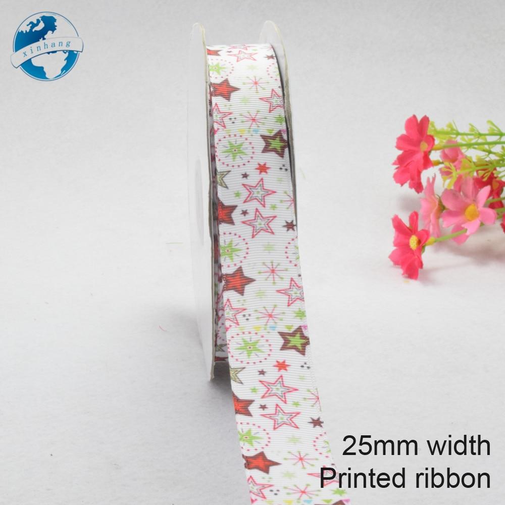 25 мм ширина, с принтом звезды ленты Полиэстер Grosgrain ленты, кружева атласные ленты DIY hairbow аксессуары, подарок посылка #3786