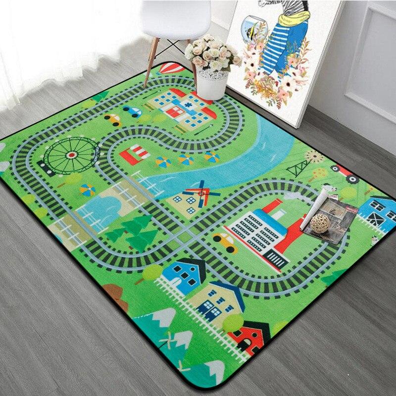 Épaisse ville ville couverture trafic bébé ramper tapis Polyester mousse escalade Pad vert route enfant tapis de jeu tapis pour bébé - 4