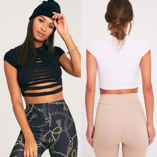 Sexy Hollow Out Women Crop Tops Tees Bandage Short Sleeve Street Style Casual Slim T-shirts Female Summer Clothing