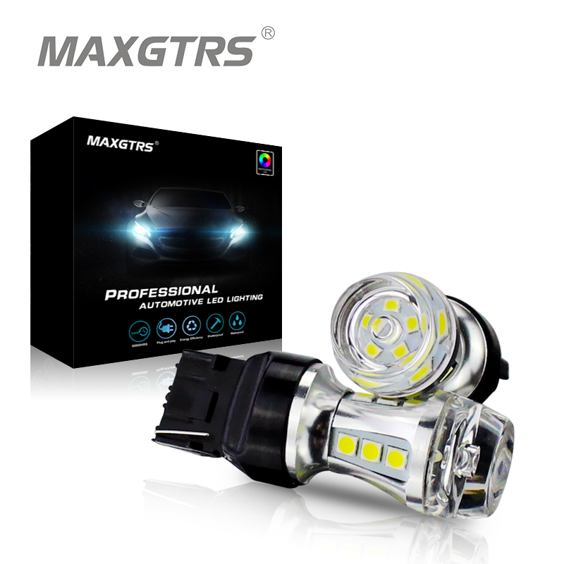 MAXGTRS 2x T20 W21W 7440 светодиодный лампы 18SMD 3030 чип автомобилей Светодиодный Резервное копирование Обратный сигнал поворота DRL свет лампы белый жел...