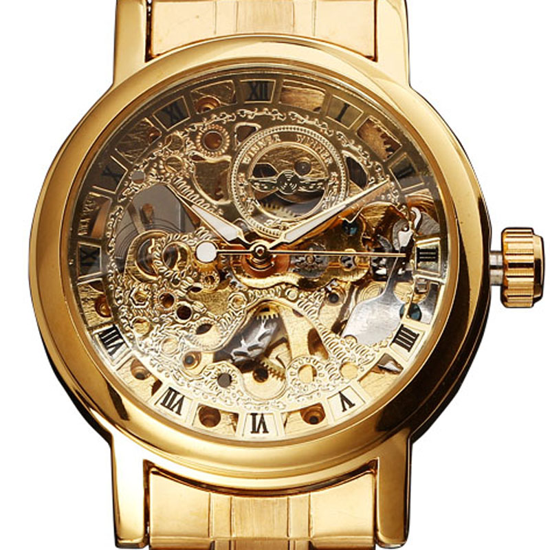 2016 New Fashion Hot Sale Women Skeleton Rhinestone Clock Full Stainless Steel Mechanical Self Wind Ladies Wrist Dress Watch