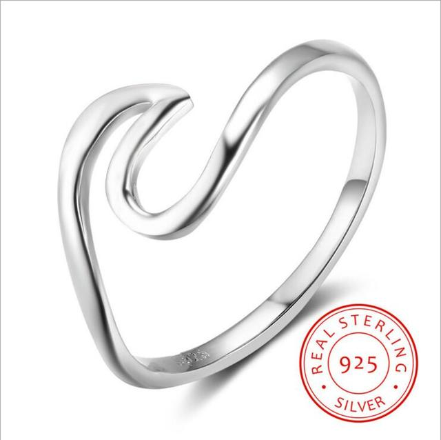 S925 Silver Sterling Ring Wave Finger Engagement Wedding Rings For Women Bague F