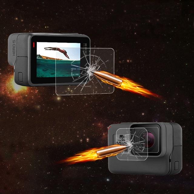 Trempé Film Pour Gopro Hero 7 6 5 Accessoires Protecteur Trempé Écran Pour Go Pro Hero 7 6 5 Noir camera Action