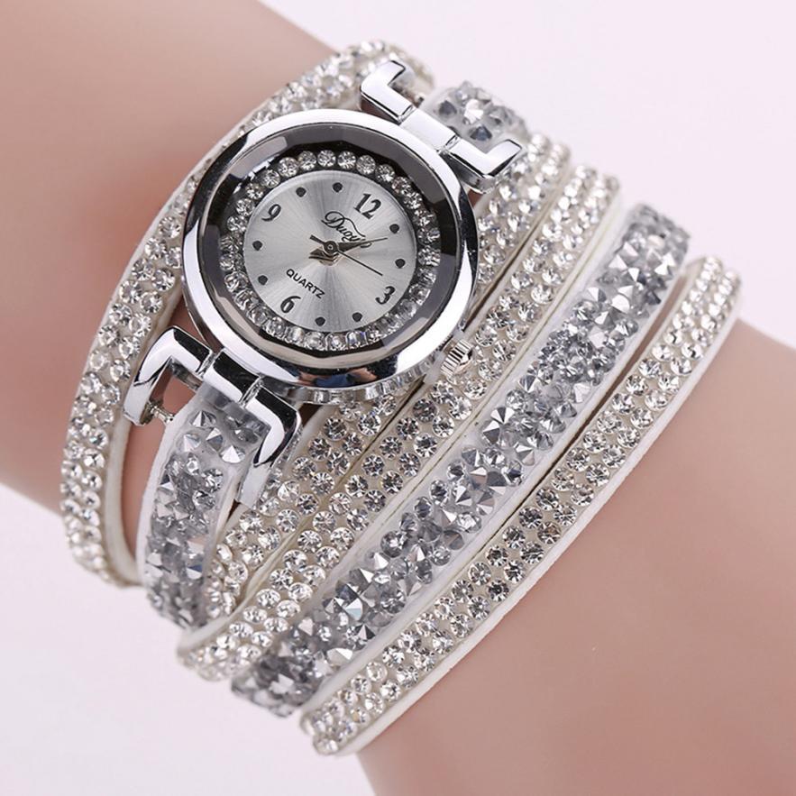 DUOYA Quartz Wristwatches Montre Femme Fashion Leather Watch Diamond Bracelet Ladies Watches Women 17DEC27 2016 women diamond watches steel band vintage bracelet watch high quality ladies quartz watch
