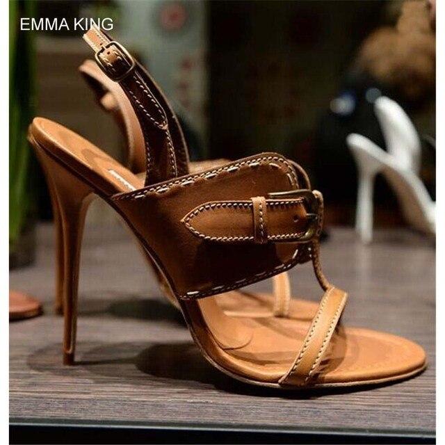 897219c1c1c0 EMMA KING Bronze Buckle Thin High Heels Sandals Women Round Toe Fashion  Mujer Shoes Modern Women Designer Rome Shoes