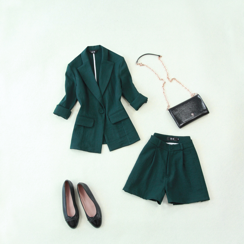 Summer suit female 2019new large size dark green 7 points sleeve small suit wide leg shorts two sets of thin linen loose women's