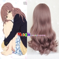 Movie A Silent Voice Nishimiya Shouko Cosplay Wig The Shape of Voice Koe no Katachi Long Wavy Culrs Curly Synthetic Hair