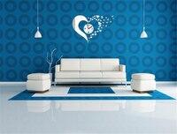 DIY Heart Shaped Acrylic Mirror Wall Clock Home Decor Wall Sticker