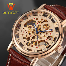 OUYAWEI Luxury Brand Gold Skeleton Watches Fashion Leather Mechanical Hand Wind Wristwatches Man's Mechanical Watch Reloj Hombre