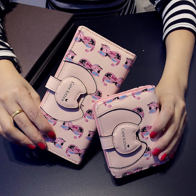 Pu Women Long Wallet Fresh Cat Character Purse Hasp Tassel Printing Cute Money Clip Preppy Style Clutch Bag For Teenage