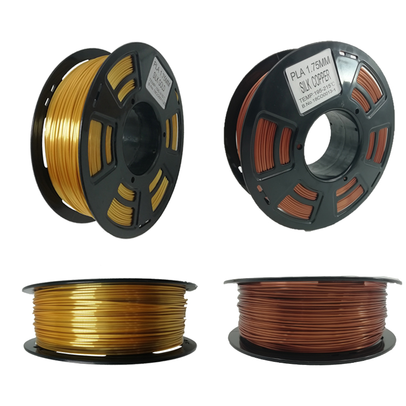 3D Printer Filament Silk Texture Feeling Gold 1kg 1.75MM/Roll Silky Rich Luster PLA Copper Golden Silver 3D Printing Filament
