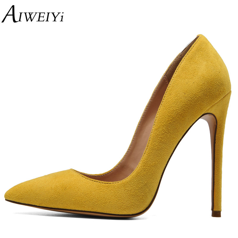 AIWEIYi Women Pointed Toe High Heels Stiletto Pumps Ladies Slip On Wedding Party Basic Shoes Black Red Women High Heel Shoes aiweiyi women high heel pump shoes 2018 pointed toe med heel high heels patent leather slip on platform pumps lady wedding shoes