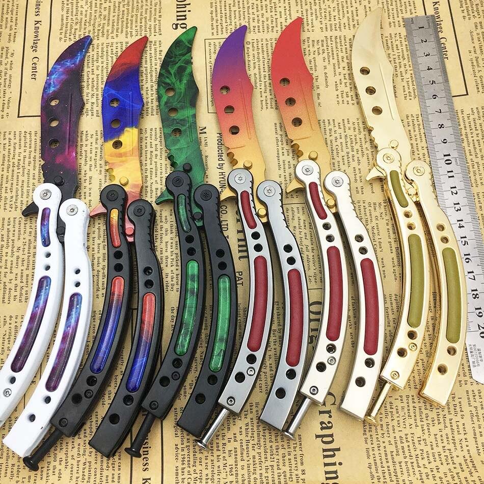 Papillon dans couteau formation couteau en acier inoxydable couteau pliant papillon Grève jeu pliant Couteau aucun bord cosplay outil