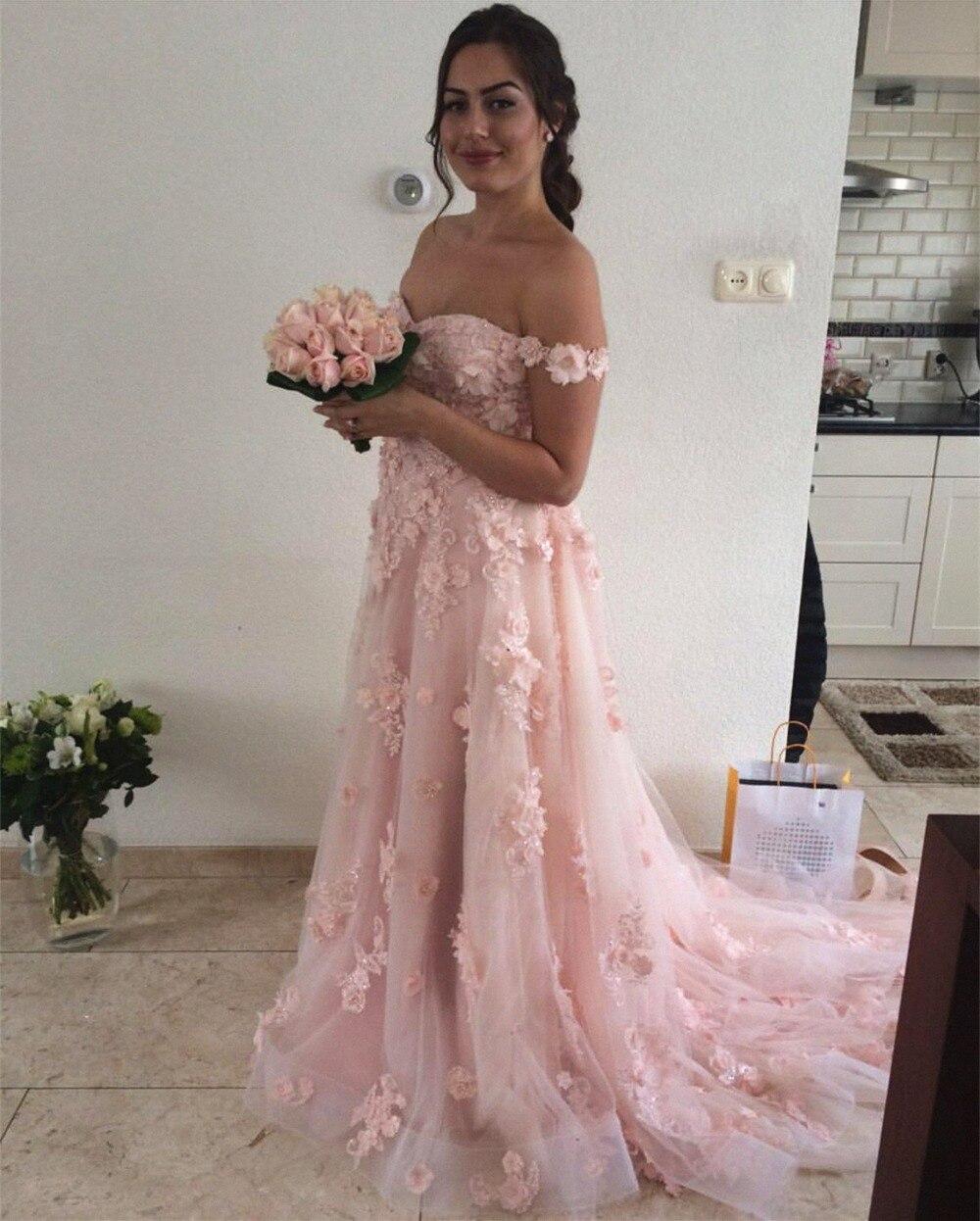 Pink Muslim   Evening     Dresses   2019 A-line Off The Shoudler Flowers Beaded Islamic Dubai Saudi Arabic Long   Evening   Gown Prom   Dress