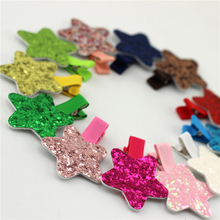 1pairs Star Baby girls Hair Clip Shinning Sequins Pentagram With Ribbon Clip Children Hairpins Clip Newborn Bebes Hair clips