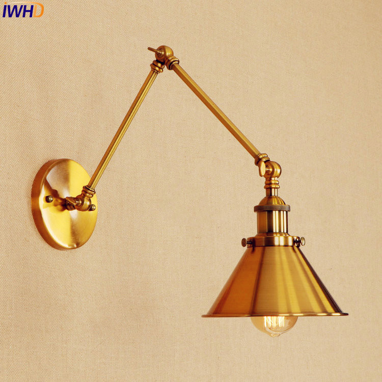 Golden Long Arm LED Wall Lamp Edison Adjustable Iron Style Loft Indutrial Vintage Wall Light Sconce Arandela Lamparas De Pared loft nordic vintage wall lamp classic black art sconce decorative light adjustable arandela led swing 2 arm wall lights reading