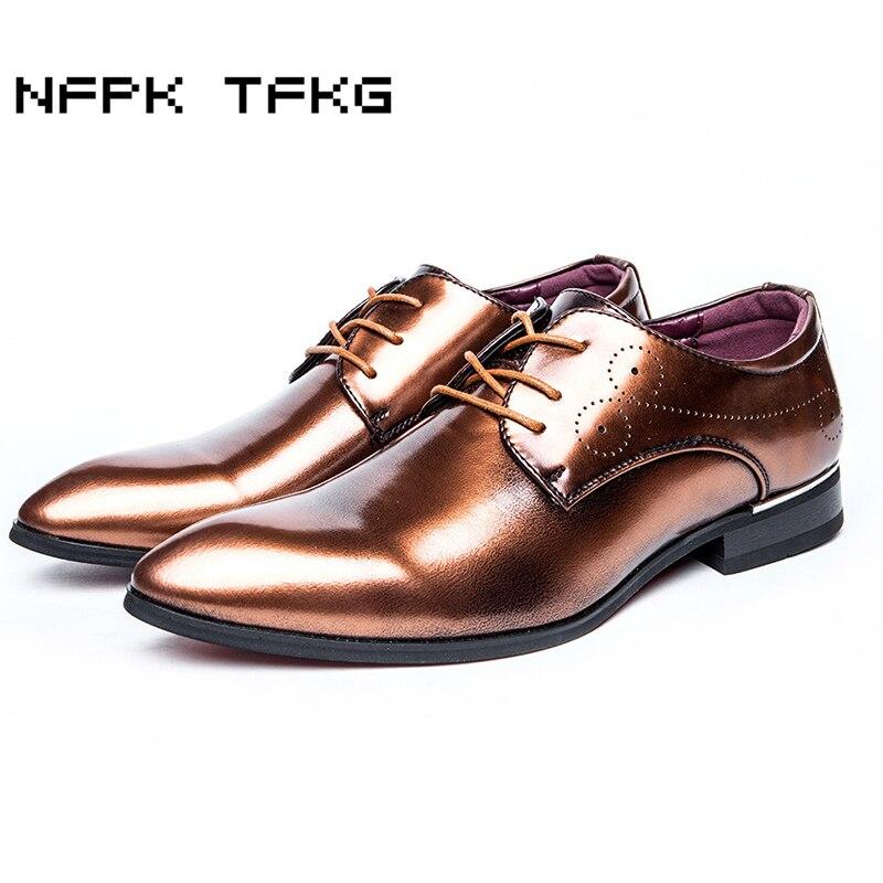 Aggressiv Plus Größe Herren Freizeit Hochzeit Tragen Helle Lackschuhe Wies Toe Oxfords Schuh Gentleman Atmungs Sapatos Männlichen