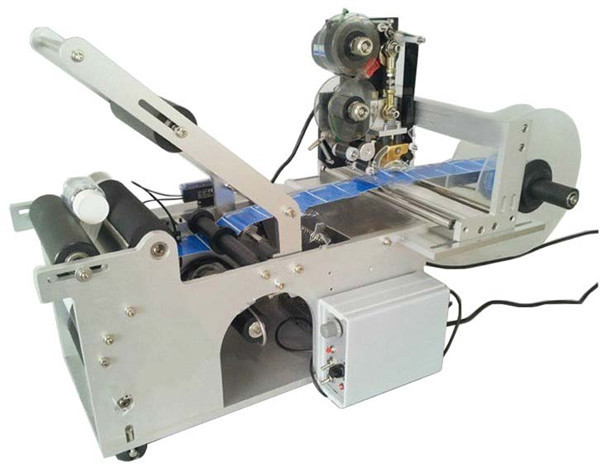 Semi Automatic Round Bottle Labeller, Adhesive Stickers Labeling Machine For Round Bottles With Date Coder new automatic round bottle labeling machine labeller with code printer