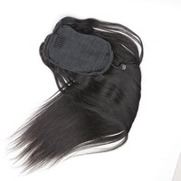 EseeWigs 3B 3C Clip Ins Ponytail For Women Natural Black Straight Clip in Human Hair Extensions Mongolian Remy Hair Double Weft