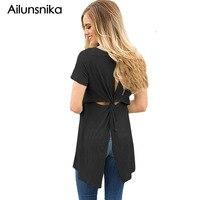 Ailunsnika 2018 패션 트위스트 컷 아웃 다시 캐주얼 짧은 소매 여성 캐주얼 O 목 티 셔츠 팜므 최고 DL250042