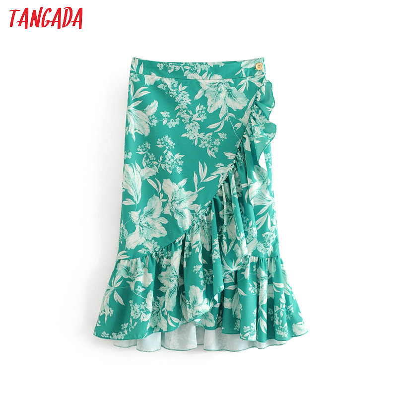 Tangada women stylish green print wrap skirts boho style 2019 fashion ladies holiday pleated skirts faldas mujer 6A242(China)