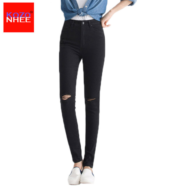 2017 Women Skinny Jeans New Fall Fashion Pencil Pants Denim Strech Blue Black Hole Ripped Jeans with high waist Plus Size Jeans