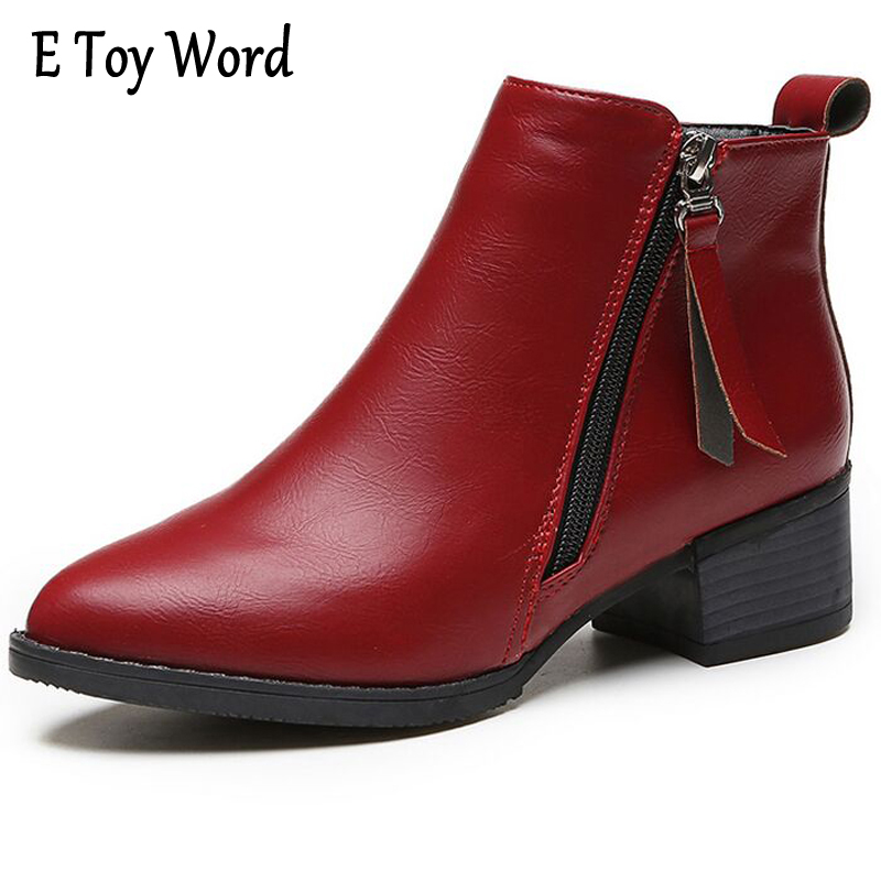 E TOY WORD 2016 free shipping new Autumn Winter Low-heeled leather Pointed toe woman boots women Martin boots women casual shoes b3300 auriculares bluetooth earphone headphones sport running stereo earpiece wireless headset fone de ouvido for mobile phone