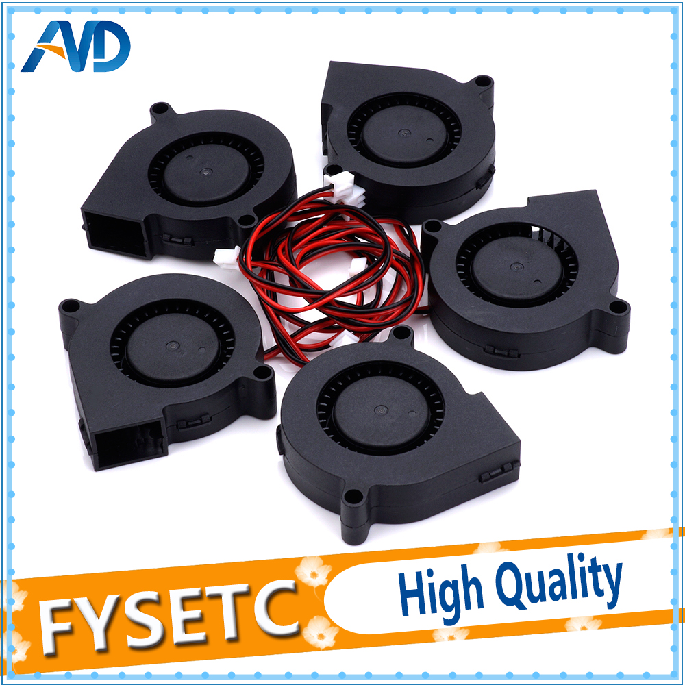 5pcs 12V DC 5015 50x50x15mm Blow Radial Cooling Fan For Electronic 3D Printer Parts Sleeve Bearing Long Life For Anet A8 A6