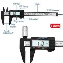 Mini paquímetro digital lcd de 0-150mm, compasso calibrador, micrômetro, medidor de calibre, fibra de carbono, 6 polegadas ferramentas de medição