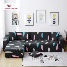 Slowdream Feather Printing Assemble Sofa Cover For Living Room Nordic Couch Cover Stretch Elastic Band Decor Corner Slipcover slowdream assemble sofa cover nordic deer cover couch cover removable stretch furniture elastic decor home for living slipcover