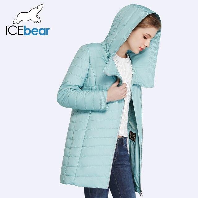 ICEbear 2017 Новая Коллекция Весна Осень Косой Дизайн Карман В Юбке Куртки Длинные женские Пальто С Капюшоном 17G295D