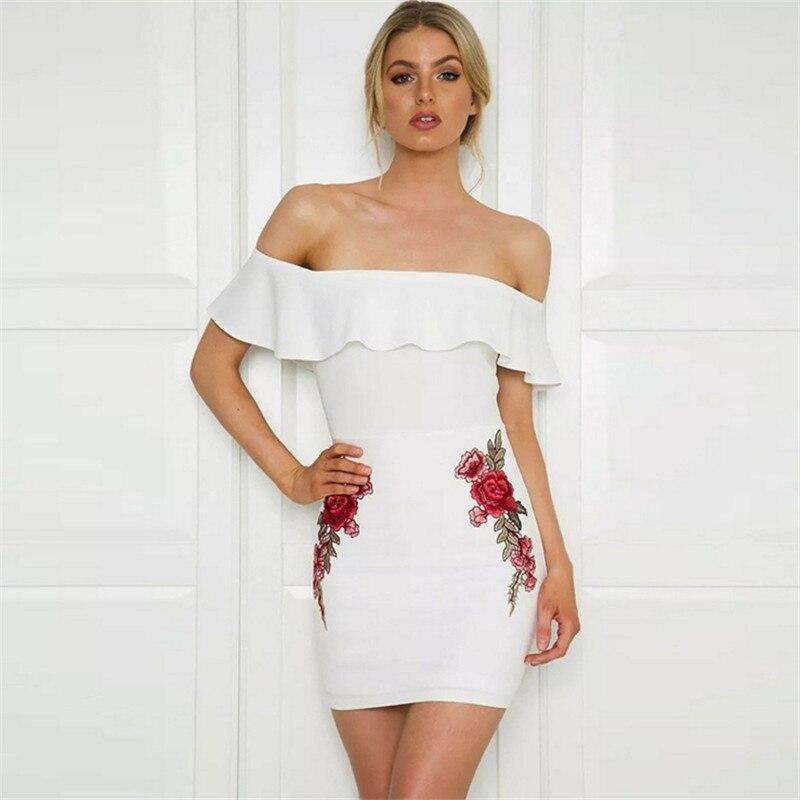Sexy Dress Women Off Shoulder Embroidery Summer Dress 2019 Flowers Strapless Sheath Backless Women Dress Vintage Party Dresses