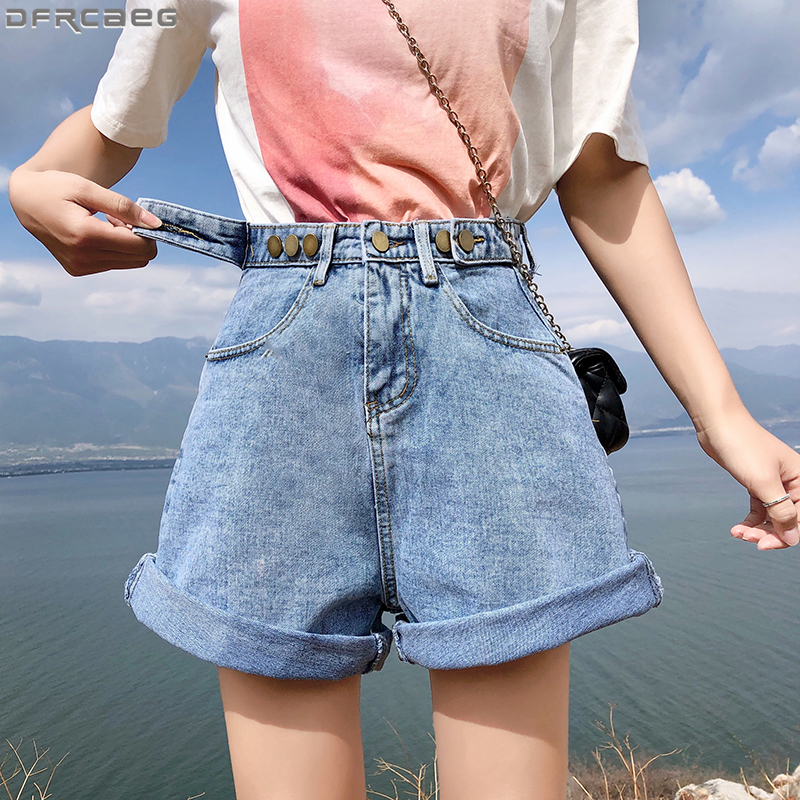 New Harajuku Summer   Short   jean Femme Loose Wide leg Streetwear Denim   Shorts   Women High Waist Single Breasted Ladies Booty   Shorts