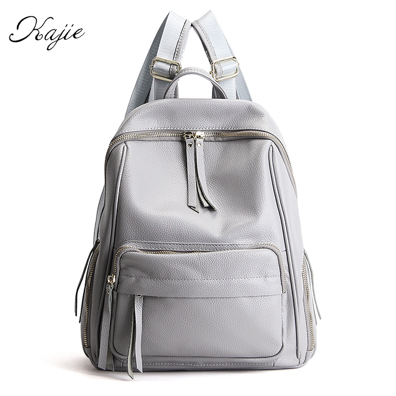 Kajie 100% Genuine Leather Backpack Cowhide Women Feminine Fashion Top Quality Mochila Feminina Sac A Dos Bagpack School Bags